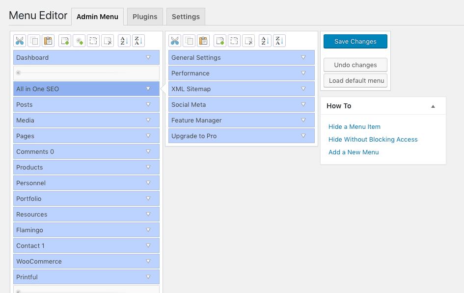 admin menu editor screenshot